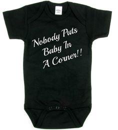 Nobody Puts Baby In A Corner Baby Onesie, Rabbit Skins,Nerdy baby clothes,onesie,Nerd Girl Tees,Geek Chic Shirt Gifts Typography,graphic tee