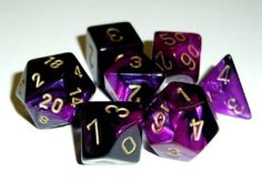 Polyhedral Gemini Chessex Dice Set - Black & Purple w/Gold Dungeons And Dragons Dice, Dragon Dies, Tabletop Games, The Adventure Zone, Forgotten Realms, Magic The Gathering, Mtg, Purple Gold, Pokemon