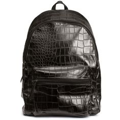 H&M Backpack (£25) ❤ liked on Polyvore featuring bags, backpacks, black, padded backpack, croc bags, zip bag, padded bag and day pack backpack
