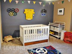 Le Tour de France Nursery - not happening, but I know Brad would love this. Yellow Jersey is signed by Alberto Contador.