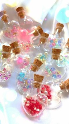 accessories, art, and silk image Kawaii Jewelry, Kawaii Accessories, Cute Jewelry, Bottle Charms, Resin Charms, Cute Crafts, Diy Crafts, Kawaii Crafts, Crystal Aesthetic