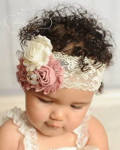 ~Dusty Rose & Ivory Shabby Chic Headband~ https://www.facebook.com/OohLaLaDivasandDudes This beautiful headband features vintage inspired
