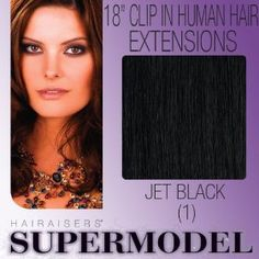 "18"" Clip In Human Hair Extensions Colour 1"