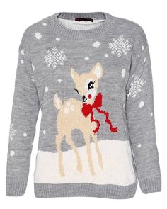 Ladies Rudolph on Wall Novelty Christmas Xmas Jumper Sweater UK Size 8-26
