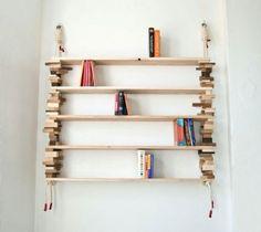 DIY bookshelf, wood off cuts, sailing rope