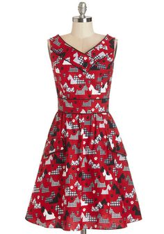Places to Go, People to See Dress in Scottie - Red, Black, White, Print with Animals, Buttons, Pockets, Trim, Casual, Critters, A-line, Slee...