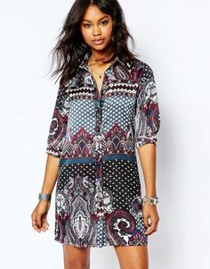 Boohoo+Printed+Shirt+Dress