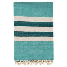 """Perfect draped over your living room sofa or folded at the foot of the master bed, this chic cotton throw showcases a lovely stripe motif and fringe trim.    Product: ThrowConstruction Material: 100% CottonColor: AquaFeatures: Fringed edge Dimensions: 50"""" x 70""""Cleaning and Care: With a dry cotton towel or white paper towel, blot out stain as much as possible. Scrape off any debris."""