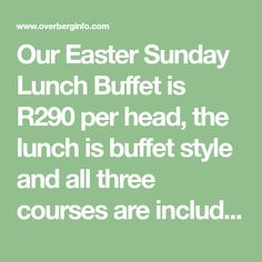 Our Easter Sunday Lunch Buffet is per head, the lunch is buffet style and all three courses are included. Children under 12 years Under 6 Eat Free Lunch Buffet, Styling A Buffet, Sunday, Easter, Children, Free, Style, Lunch Catering, Toddlers