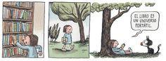 SOY BIBLIOTECARIO: Las viñetas de Liniers y su homenaje a la lectura