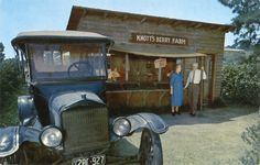 The beginning of Knotts Berry Farm, Buena Park, CA. The 1920 old berry stand of Walter & Cordelia Knotts seen here. Photo taken, guessing ca.1940. The Knotts began farming in 1920 on 10acres leased farm land growing berries for jams & pies. To honor the old west Walter built a ghost town, people came from all over. 1940 began entertaining dinner customers who came for Mrs. Knotts tasty Chicken Dinners! The first charge for entry began in 1968 (see other vintage pics at Vintage Photos).