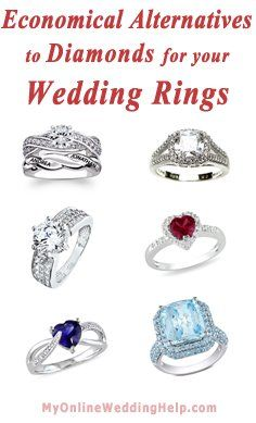 Alternatives to diamonds for wedding rings. Examples and links to a lot more cz, Diamonique, rubies, sapphires, and blue topaz.