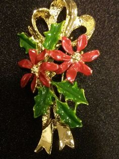 #VINTAGE SIGNED GERRY'S  POINSETTIA  CHRISTMAS BROOCH PIN  #Gerrys
