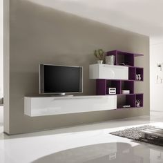 Modern Wall Unit - Violet and White
