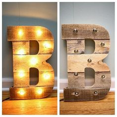 Pallet wood letter B with globe lights hand made by us! We can make any letter! This is pictured here lit and not lit #b #globelights #marqueeletter  #marquee #letterb #handmade #reclaimed #palletwood #palletwoodb #bwithglobelights #walldecor #lights #marqueeletterb #repurposed #palletwoodart #weddinggift #engagementgift #showergift #perfectgift #bridalshowergift #initial #woodworking #rustic #custom #coastalcreations