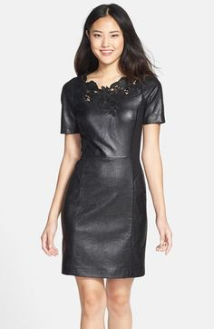 Dying over this faux leather sheath dress, with floral detail. 55% off & PERFECT for NYE!