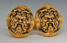 Superbly Modeled Massive 14K Gold Vintage  Cufflinks with Satyr Masks.    The eyes are set with tiny diamonds.