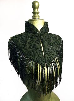 French Jet beaded Victorian Mantle Victorian French jet, glass beaded mourning mantle/ capelet [jet beaded]  Vintage Vampalicous, Vintage antique and preloved clothing for women and chaps - www.vampalicious.co.uk