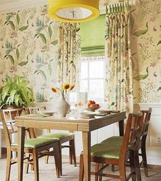 french decor and floral wallpaper for dining room