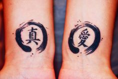 """YESSSS I'M SO STOKEDDDDD so the Enso Circles represent """"Strength"""" in Japanese. and on my left wrist (which is the one on the right) is the Japanese Kanji for """"love"""" and the other is in Chinese mean..."""