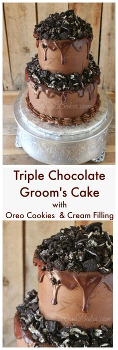 Triple Chocolate Groom's Cake with Oreo Cookies & Cream Filling