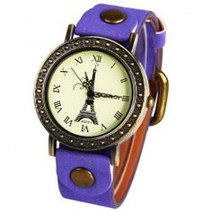 $3.94 WoMaGe Quartz Watch with Roman Numbers Indicate Leather Watch Band for Women (Purple)