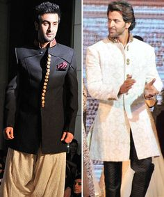 Ranbir Kapoor and Hrithik Roshan don a 'desi' attire. Groom Wear, Popular Movies, Ranbir Kapoor, Hrithik Roshan, Streaming Movies, Movie Trailers, Desi, Bollywood, Menswear