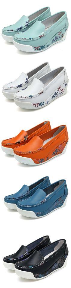 US$33.16  Color Match Platform Wedges Slip On Casual Shoes