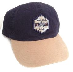 free shipping ef91f 7119b Fitted-Size 7-1 4 (Med) NOTRE DAME FIGHTING IRISH HAT Relaxed-Fit Dad  Navy Tan