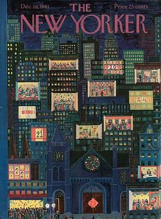 The New Yorker Cover ~ December 1961 The New Yorker, New Yorker Covers, Vintage Illustration Art, Graphic Design Illustration, Old Magazines, Vintage Magazines, Vogue Vintage, Christmas Cover, Vintage Christmas