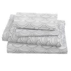 Scalloped Pattern Sheets - white, gray, nautical - Land of Nod