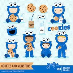 COOKIES  & MONSTERS  Digital Clipart , Cookie Clipart, Baby Monster, Cookie Monster Clipart / Descarga Instantanea