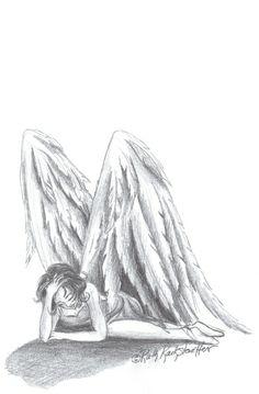 """Fallen Angel Wings Drawing   Fallen Angel"""" by Ruth Anne Kackstaetter"""