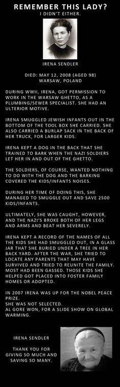A true hero--Irena Sendler--courageous woman!