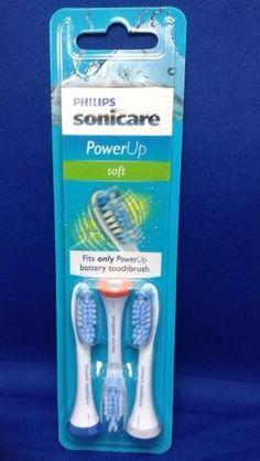 Philips Sonicare PowerUp Replacement Brush Head Soft Toothbrush HX3023 New