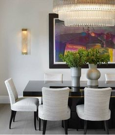 20 Minimalist Dining Rooms Sets with White Dining Chairs Contemporary Interior Design, Interior Design Living Room, Living Room Designs, Living Room Decor, Modern Contemporary, White Dining Chairs, Modern Dining Chairs, Dining Rooms, Dining Tables