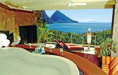Luxury balcony layout  Majestic Jade Mountain Resort, St. Lucia:  Cantilevered architecture