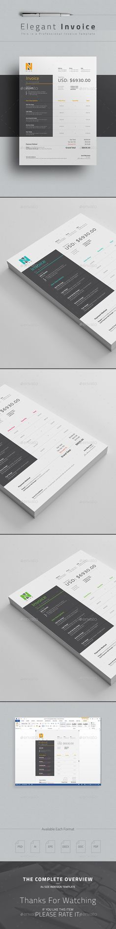 Clean / Corporate Invoice Template with super modern and professional look. Elegant page designs are easy to use and customize, so you can quickly tailor-make your company invoice or personal invoice Web Design, Form Design, Layout Design, Creative Design, Print Design, Invoice Design, Stationary Design, Invoice Template, Templates