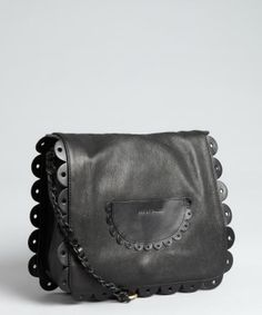 See By Chloe black leather 'Poya' ruffle detail shoulder bag