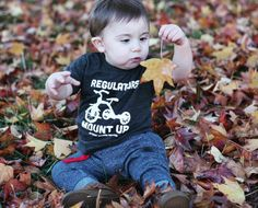 This baby totally knows how to regulate on some leaves... Get your whole crew in these rad toddler tees and hit the streets!