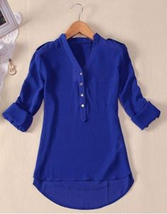 Simple Style V-Neck Chiffon Solid Color Long Sleeve Women's Blouse Blouses   RoseGal.com Mobile