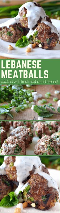 Lebanese Meatballs ~ you can't help but fall in love with these tender beef and lamb meatballs made with tons of fresh herbs, spices, and tangy goat cheese! This is the perfect addition to your next Mediterranean dinner or mezze platter! Meat Appetizers, Appetizer Recipes, Dinner Recipes, Appetizer Dinner, Dinner Ideas, Beef Recipes, Real Food Recipes, Cooking Recipes, Healthy Recipes