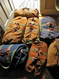 Vintage canvas and leather duffel bags