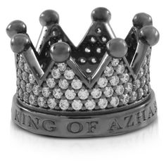 Azhar Re Silver and Zircon Crown Ring (1.035 BRL) ❤ liked on Polyvore featuring jewelry, rings, silver crown, silver jewellery, druzy ring, drusy ring and crown jewelry