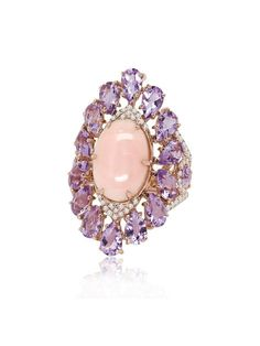 Sutra Jewels Pink Opal Amethyst And Diamond Ring #opalsaustralia