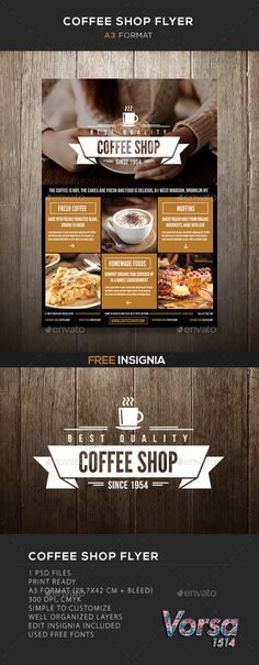 Coffee Shop flyer Template #design Download: http://graphicriver.net/item/coffee-shop-flyer/10116679?ref=ksioks