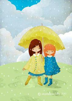 Rain Umbrella, Under My Umbrella, Yellow Umbrella, Walking In The Rain, Singing In The Rain, I Love Rain, Rain Art, Umbrellas Parasols, Children's Book Illustration