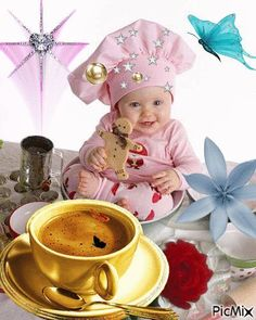 Little ☻ Chefs Good Morning Funny, Good Morning Coffee, Good Morning Good Night, Good Morning Quotes, Good Morning Images, Gif Pictures, Taking Pictures, Gifs Lindos, Good Night I Love You