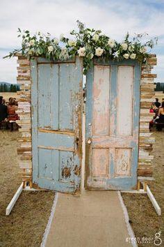 Rustic doors for an elegant, vintage wedding at E Bar L Ranch in Montana: Habitat Events & Floral Studio - www.habitatevents.com | Photo credit: Green Door Photography - www.greendoorphotography.com