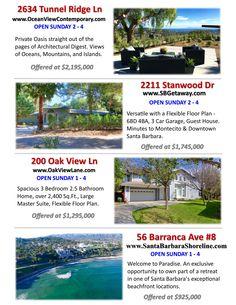 4 Listings OPEN THIS SUNDAY 805-689-0532 #JonMahoney #SantaBarbara #OpenHouse #RealEstate